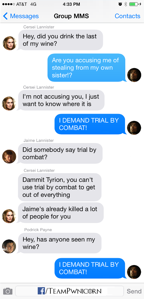 Cersei Jaime Podrick Tyrion Texts from westeros